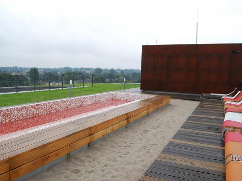 Green roof with sand and water features