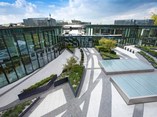 Green and paved areas on the roof